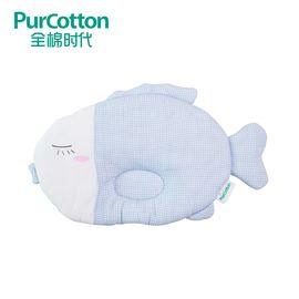 全棉时代 婴儿小鱼纱布定型枕 枕头 34x21厘米1个 蓝白格小鱼