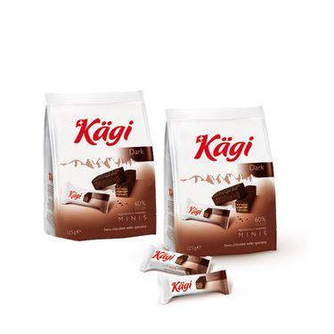 卡奇 瑞士进口 迷你黑巧克力威化饼干125克*2