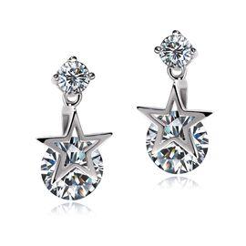 静风格 时尚锆石星星耳环 气质女人生日礼物
