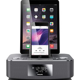 飞利浦 (PHILIPS)DC295 苹果iPhone6S/6Plus/5/ipad4充电器 音乐底座音响 家居音箱 闹钟/FM