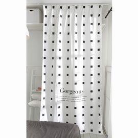 范居态度 ins现代简约窗帘成品遮光布卧室北欧黑白客厅免打孔飘窗定制窗帘 A款