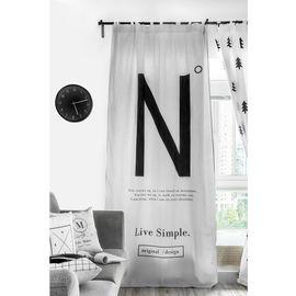 范居态度 ins现代简约窗帘成品遮光布卧室北欧黑白客厅免打孔飘窗定制窗帘 H款