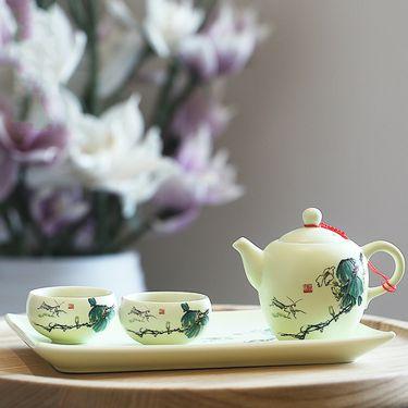 束氏 翠玉满堂4头茶具套组(2款随机发货) 040919