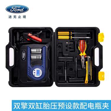 福特车载充气泵汽车用双缸打气泵12v便携式电动轮胎冲气筒加气机