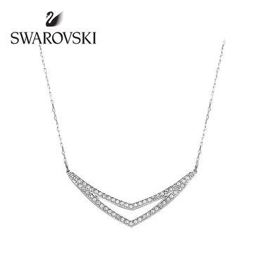 Swarovski 施华洛世奇 Alpha镀白金色双V造型水晶质感项链 5197483