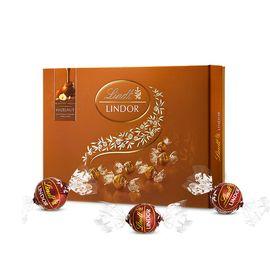 瑞士莲LINDT 软心 - 榛仁牛奶巧克力礼盒168g