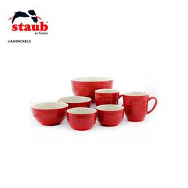双立人 旗下 法国STAUB陶瓷杯具餐具7件套 厨房多用小碗套装 颜色亮丽