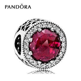 PANDORA 潘多拉 樱桃红闪亮的心925银混合石材串珠791725NCC