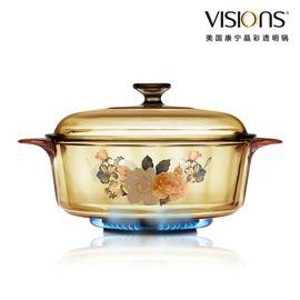 World Kitchen 康宁  VISIONS VS-32-FLR 富贵吉祥花卉系列  晶彩透明锅