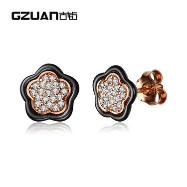 GZUAN古钻 繁花似锦 18K金精密陶瓷钻石耳钉 TE0023B3