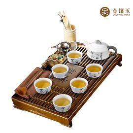 金镶玉墨竹雪花釉茶具茶盘套组