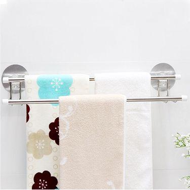 日本FaSoLa不锈钢双杆毛巾架瓷砖无痕毛巾整理架浴巾收纳架