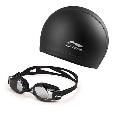 李宁 正品泳镜非近视泳镜高清防水防雾泳镜大框男女士游泳眼镜泳帽套装