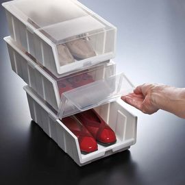 日本进口鞋盒鞋子收纳盒鞋架储鞋盒防尘箱2个装