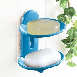 日本进口肥皂盒香皂盒浴室双层带吸盘肥皂盒