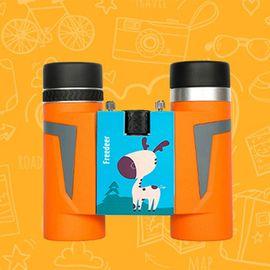 自由鹿 Freedeer蓝精灵10X25卡通图案双筒望远镜儿童礼物男女孩学生玩具防水防雾超清高倍环保材料护目时尚轻便户外黄色