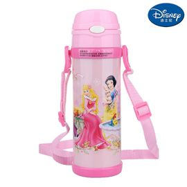 迪士尼Disney-公主粉保温杯480毫升健康儿童学生吸管背带户外水壶杯瓶