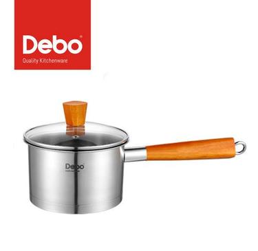 德铂(Debo)格莱斯不锈钢营养奶锅 木质单手柄复底不粘锅 DEP-296