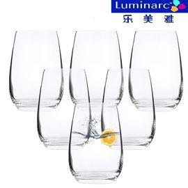 乐美雅 (Luminarc)玻璃水杯 果汁杯 啤酒杯饮料杯 盛世直身杯 370ml H9206