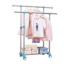宝优妮卧室双杆挂衣架落地双杠晒衣架不锈钢衣服架室内移动晾衣架DQ1701-1T
