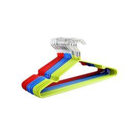 馨乐屋 镀锌防锈纳米加粗防滑衣架晒衣挂架 10个装 颜色随机