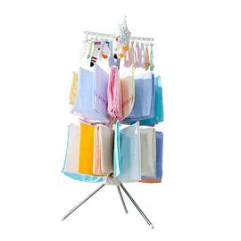 宝优妮婴儿晾衣架落地折叠阳台不锈钢晒衣架儿童毛巾架宝宝尿布架DQ0973