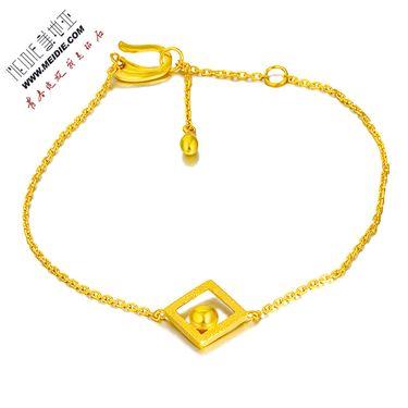 Meidie 美地亚 珠宝黄金精品足金手链—本色系列菱形 GTB009  金重:约3.0-3.5克