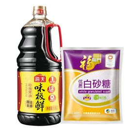 海天 味极鲜特级酱油1.6L、福临门优质白砂糖(袋装 405g)(中粮我买调味组合)