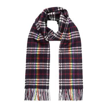 BURBERRY /博柏利 经典霓彩格纹羊绒男士藏蓝色围巾#4079444 联正国际