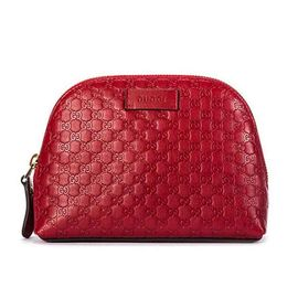 Gucci/古驰 【预售】 红色皮质经典LOGO压纹化妆包17*13*5.5 意大利 洋码头
