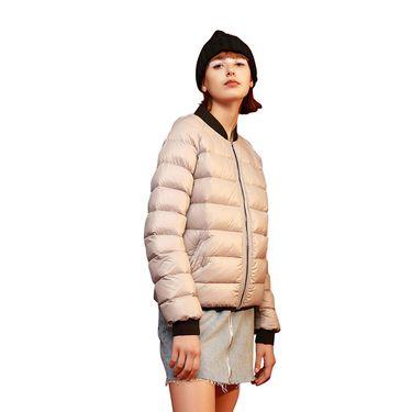 初语 女轻薄时尚羽绒服2018秋冬新款棒球领短款保暖防寒外套8830942010