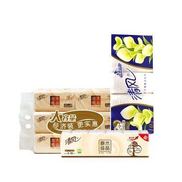 清风 家用纸巾组合  3层130抽6包装+3层无增白剂卷纸10卷+3层手帕纸10包(特惠5折起)