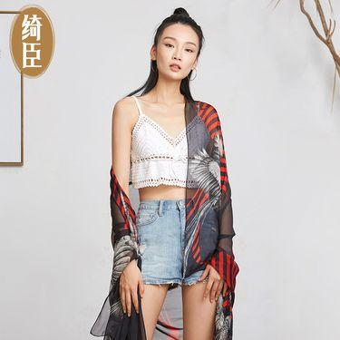 绮臣 真丝雪纺丝巾2018年新款时尚2米旅游丝巾杭州丝绸桑蚕丝雪纺