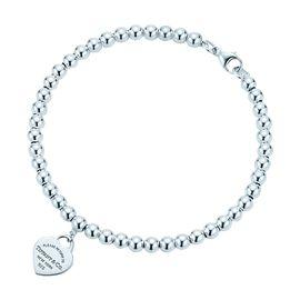 蒂芙尼Tiffany&co. 女款心形字母圆珠银手链手环 GRP02587 美国官网款 XUNTAO