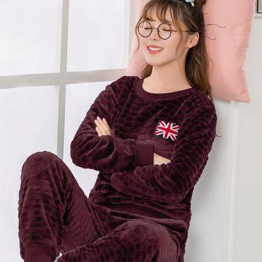 苏吉思 冬季女士睡衣长袖套头法兰绒保暖加厚少女家居服时尚套装LP-65