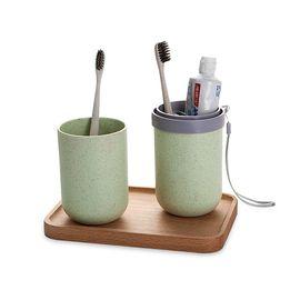 家杰 旅行漱口杯牙刷牙膏收纳杯 小麦秸秆漱口杯 洗漱杯牙缸 绿色 JJ-SN501