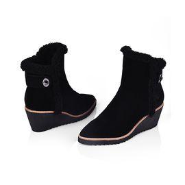 DK UGG DK307秋冬款牛反绒羊皮毛一体坡跟显高修身女靴保暖耐磨防滑女鞋高筒雪地靴 IVY