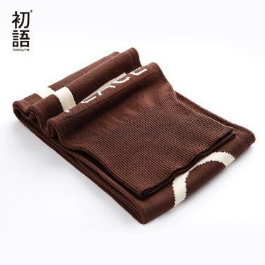 初语 冬季保暖毛线围巾女士潮流时尚百搭韩版长款字母印花8742903003