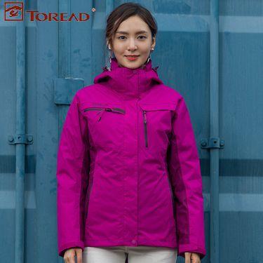 探路者 Toread女装上衣秋冬季连帽户外保暖羽绒内胆冲锋衣TAWF92778
