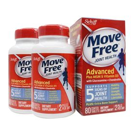 SCHIFF MOVEFREE氨糖软骨素维骨力MSM+VD3 80粒 美国进口 促钙吸收 海豚跨境