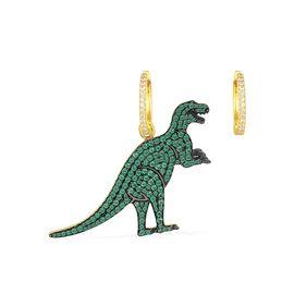APM MONACO 【周冬雨同款】 不对称 金黄银镶薄荷绿晶钻  恐龙耳环 法国进口 AE10185XGY GUSHANG