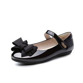 百丽 童鞋女童黑色皮鞋2018秋季新款中大童学生鞋儿童蝴蝶结小单鞋 DE0922