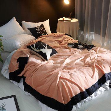 嘉若彤 毛毯加厚素色蕾丝花边小毯子法兰绒礼品办公室披肩盖毯LP-205