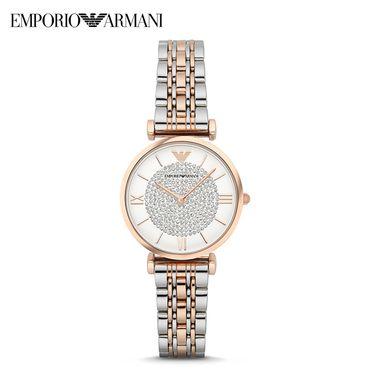 EMPORIO ARMANI 阿玛尼 欧美镶钻钢制表带 圆形石英女士手表 AR1926
