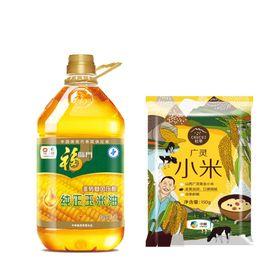中粮 福临门纯正压榨 非转基因 玉米油3.5L、初萃 广灵小米150g