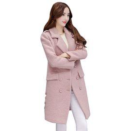 乔伊思 纯色翻领双排扣外套呢大衣羊毛大衣女J642099