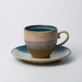 AITO 日本原产Glaze works美浓烧陶瓷杯碟套装釉下彩三种颜色可选 精品礼盒送礼佳品