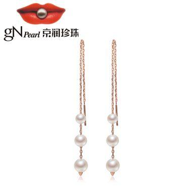 京润珍珠 伶俐 5-8mm圆形 S925银镶时尚淡水珍珠耳线耳饰 银泰同款