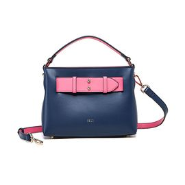 ELLE 女包新款时尚撞色公文包单肩背个性斜跨包包女90182
