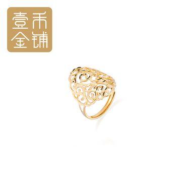 延金 金色椭圆形镂空高雅18K金时尚戒指活口 约2.6g